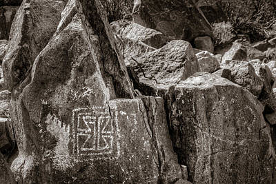 Photograph - Petroglyph 11 Sepia by James Barber