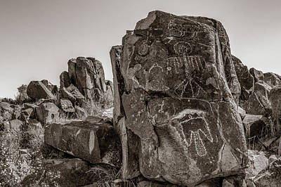 Photograph - Petroglyph 3 Sepia by James Barber