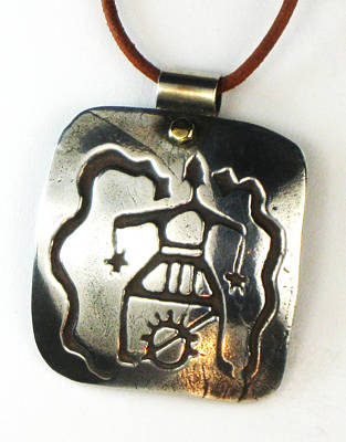 Esprit Mystique Jewelry - Petroglyph Shaman Amulet - Fine Silver Necklace by Virginia Vivier