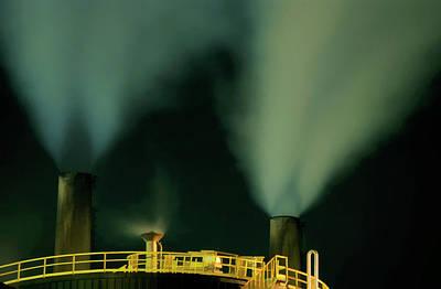 Petroleum Refinery Chimneys At Night Art Print by Sami Sarkis