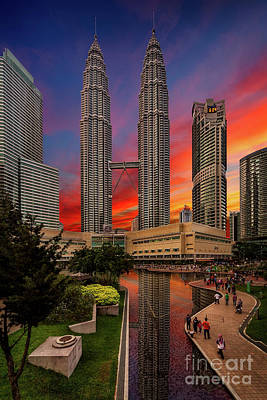 Clock Shop Photograph - Petronas Towers Sunset by Adrian Evans