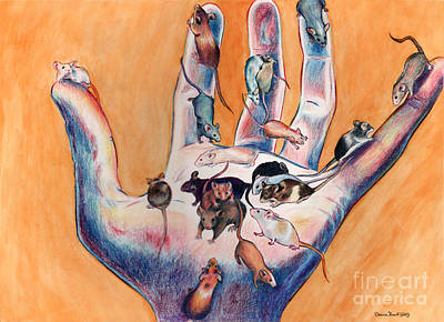 Drawing - Pets - Mice On Hand by Deanna Yildiz