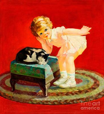 Painting - Petting The Cat George Leslie Rapp 1920 by Peter Gumaer Ogden