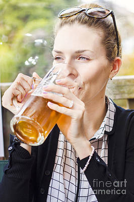 Petty Woman Drinking Beer Stein During Oktoberfest Art Print by Jorgo Photography - Wall Art Gallery