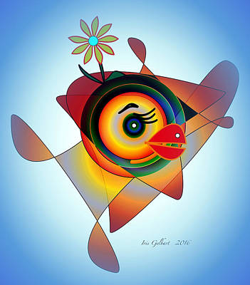 Digital Art - Petunia Parrot 2 by Iris Gelbart