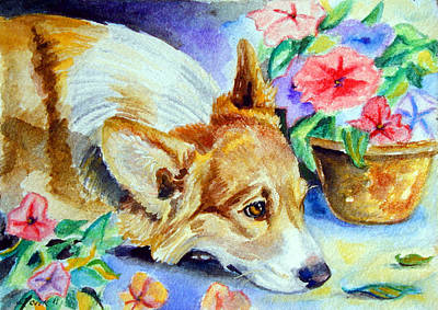Watercolor Pet Portraits Painting - Petunias - Pembroke Welsh Corgi by Lyn Cook