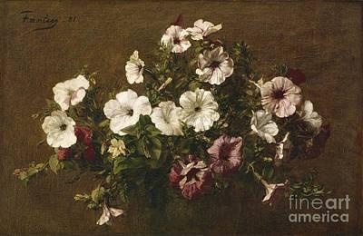 Petunias Art Print by Ignace Henri Jean Fantin-Latour