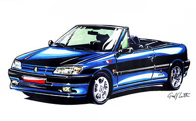 Cabriolet Painting - Peugeot 306 Pininfarina Cabriolet by Geoff Latter