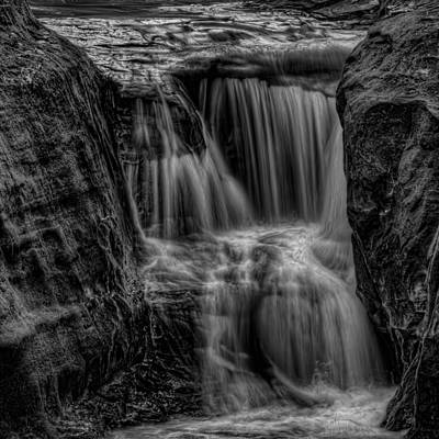 Photograph - Pewits Nest Middle Falls Black And White Square by Dale Kauzlaric