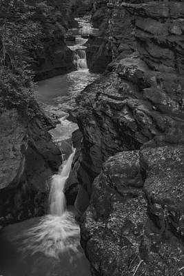Photograph - Pewits Nest Three Waterfalls In Black And White by Dale Kauzlaric