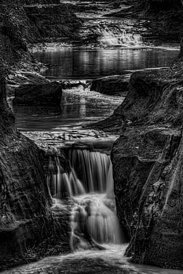 Photograph - Pewits Nest Waterfalls In Black And White by Dale Kauzlaric