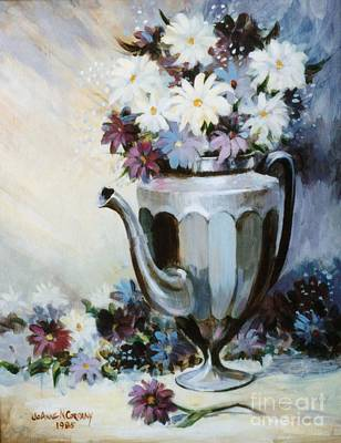 Pewter Coffee Pot And Daisies Art Print by JoAnne Corpany