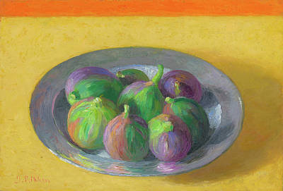 Painting - Pewter Plate With Figs by Ben Rikken