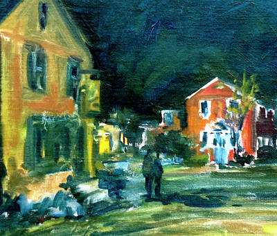 Rockport Painting - Pewter Shop At Night by Chris Coyne