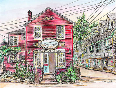 Drawing - Pewter Shop, Rockport Massachusetts by Michele A Loftus
