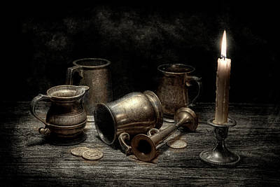 Candle Lit Photograph - Pewter Still Life I by Tom Mc Nemar