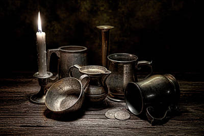 Candle Lit Photograph - Pewter Still Life II by Tom Mc Nemar