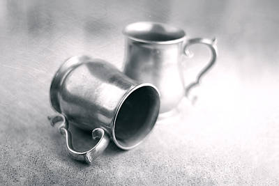 Textures Photograph - Pewter Tankards Still Life by Tom Mc Nemar
