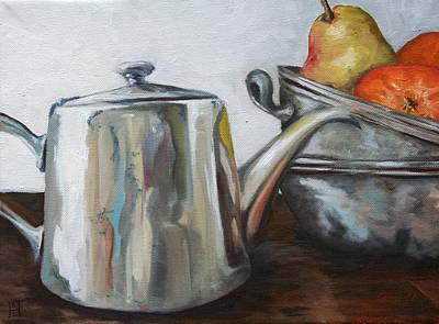 Sterling Silver Painting - Pewter Teapot And Bowls by Amy Higgins