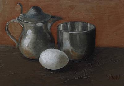 Painting - Egg With Pewter by Grace Diehl