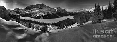 Photograph - Peyto Lake Black And White Panorama by Adam Jewell