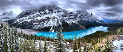 Photograph - Peyto Lake Ice Blue Reflections Panorama by Adam Jewell
