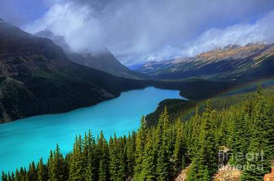 Fairmont Photograph - Peyto Lake Rainbow Below Banff National Park by Wayne Moran