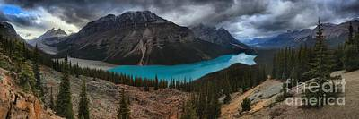 Photograph - Peyto Lake Stormy Morning Panorama by Adam Jewell