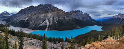 Photograph - Peyto Lake Stormy Skies Panorama by Adam Jewell