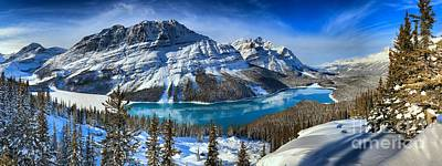 Photograph - Peyto Lake Winter Paradise Panorama by Adam Jewell