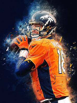 Office Digital Art - Peyton Manning by Afterdarkness