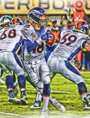 Nfl Mixed Media - Peyton Manning Broncos Oil Art by Joe Hamilton