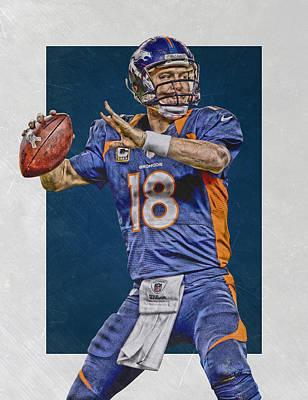 Mixed Media - Peyton Manning Denver Broncos Art 2 by Joe Hamilton
