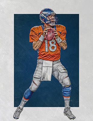 Mixed Media - Peyton Manning Denver Broncos Art by Joe Hamilton