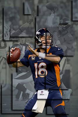 Peyton Manning Denver Broncos Blocks Art Print by Joe Hamilton