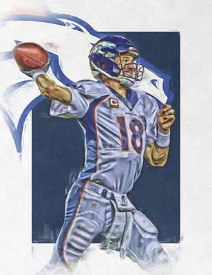 Oil Mixed Media - Peyton Manning Denver Broncos Oil Art by Joe Hamilton