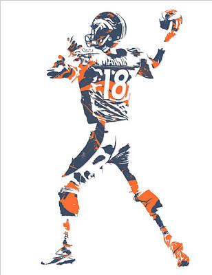 Peyton Manning Denver Broncos Pixel Art 7 Art Print