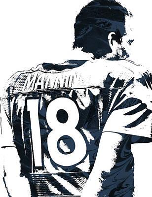 Peyton Manning Denver Broncos Pixel Art Art Print by Joe Hamilton