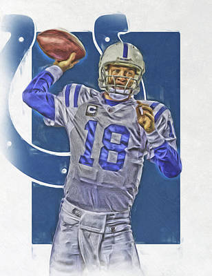 Indianapolis Mixed Media - Peyton Manning Indianapolis Colts Oil Art by Joe Hamilton