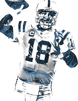 Indianapolis Mixed Media - Peyton Manning Indianapolis Colts Pixel Art 2 by Joe Hamilton
