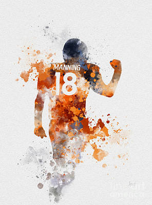 Mvp Mixed Media - Peyton Manning by Rebecca Jenkins
