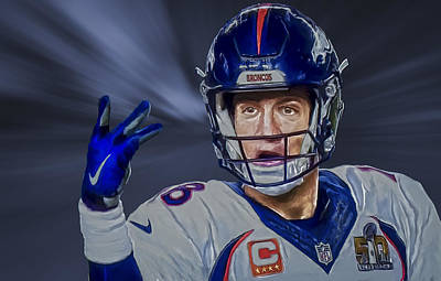 Painting - Peyton Manning by Rick Mosher