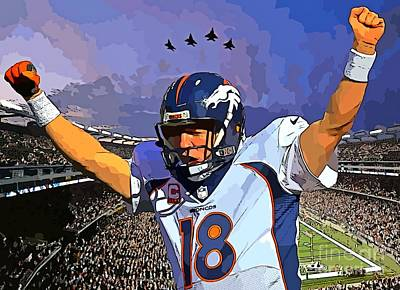 Peyton Manning Super Bowl Great  Art Print by John Malone