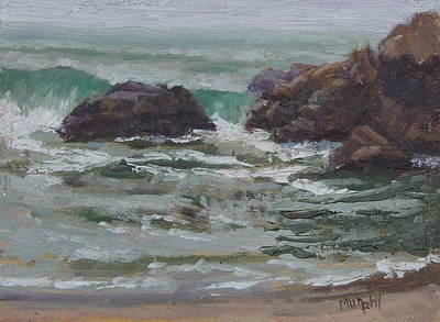 Rocks. Tidal Pool Painting - Pfeiffer Beach by Michelle Murphy-Ferguson