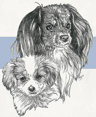 Mixed Media - Phalene Papillon And Pup by Barbara Keith