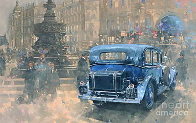 Cars Wall Art - Painting - Phantom In Piccadilly  by Peter Miller