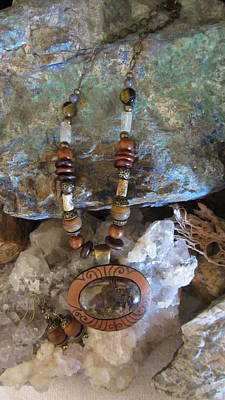Jewelry - Phantom Quartz Set In Gourd Wood #d124 by Barbara Prestridge