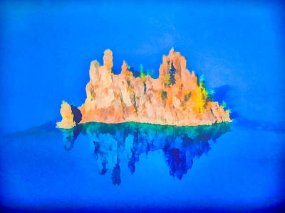 Digital Art - Phantom Ship Island Crater Lake Art by Priya Ghose
