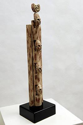 Ancestral Pole Sculpture - Pharaohs Iconic Cult - Ancestral Stela - Egypt - Egyptian - Pharaohs - Helga Pohlen  by Urft Valley Art