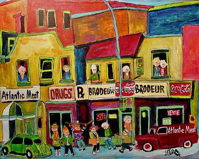 Painting - Pharmacie Brodeur Cote Des Neiges/queen Mary by Michael Litvack
